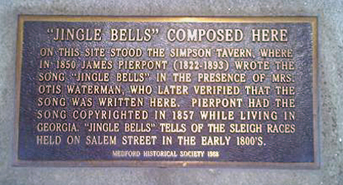 """Jingle Bells composed here"" commemorative plaque at 19 High St., Medford, MA, USA."